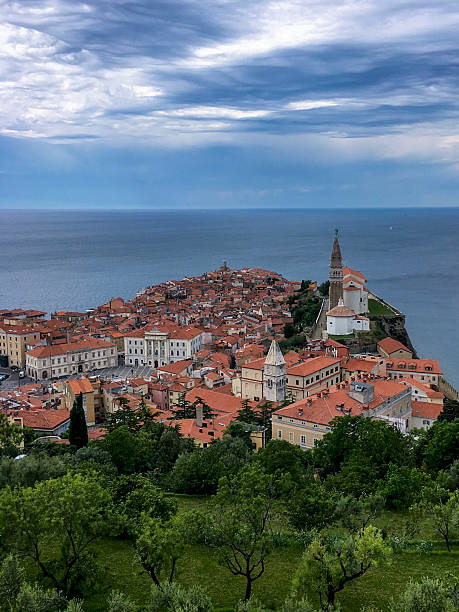 Aerial view of Piran Old Town, Slovenia ストックフォト