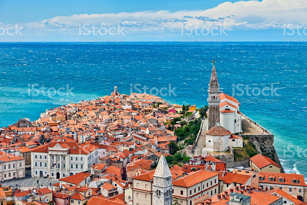 Aerial view of Piran on the Slovenian coast stock photo