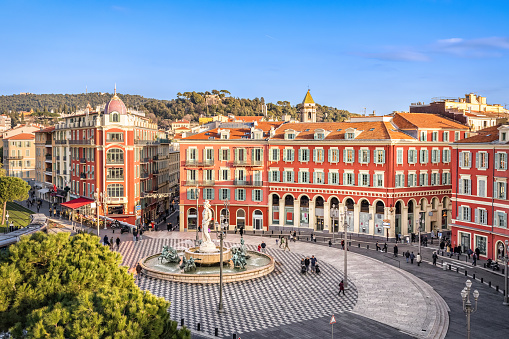 Aerial view of Place Massena in Nice, France