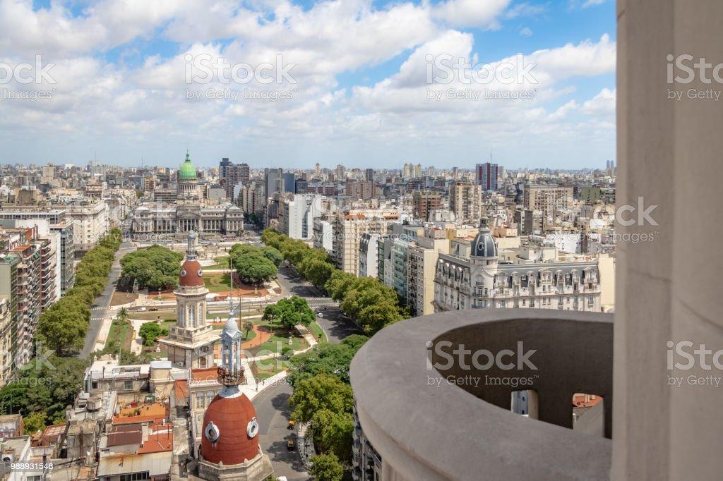 Aerial view of Plaza Congreso (Congress Plaza) from Palacio Barolo (Barolo Palace) Balcony - Buenos Aires, Argentina - foto stock