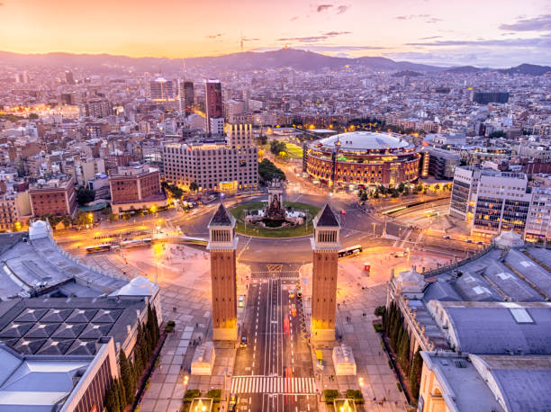 Aerial View of plaza españa at sunset in Barcelona, Spain Aerial View of plaza españa at sunset in Barcelona, Spain barcelona spain stock pictures, royalty-free photos & images