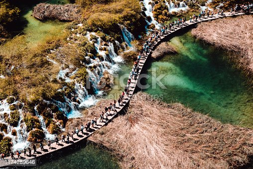 Aerial View Of Plitvice Lake Beautiful Landscape