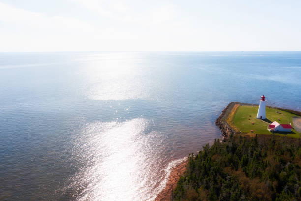 Luftaufnahme des Leuchtturms Point Prim, Prince Edward Island, Kanada – Foto