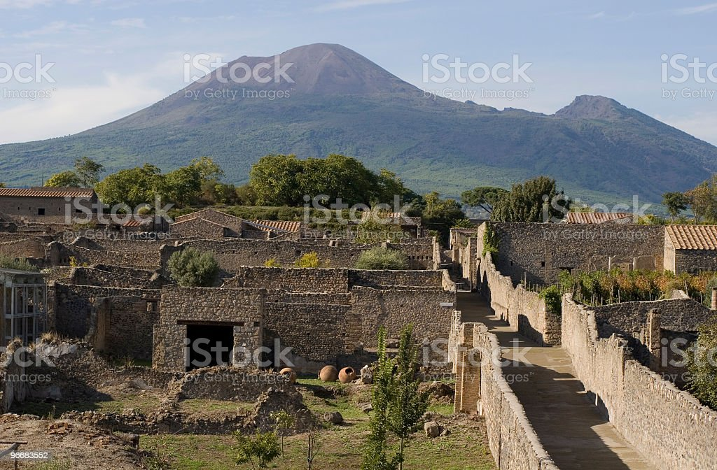 Aerial view of Pompeii with Mount Vesuvius in the background stock photo