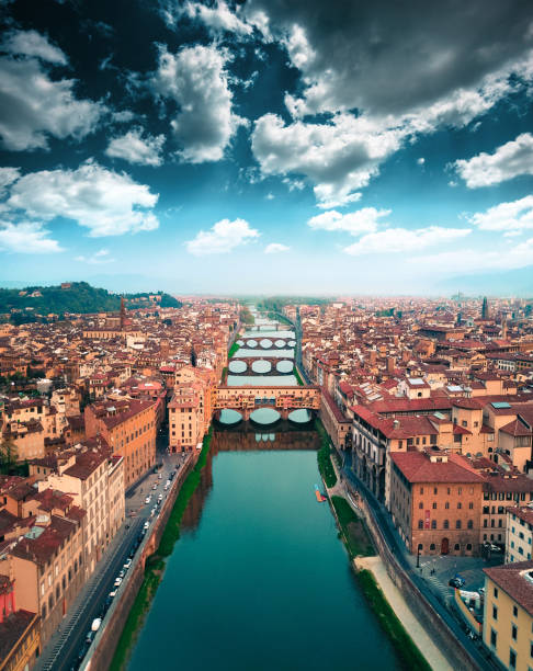 aerial view of ponte vecchio in Florence aerial view of ponte vecchio in Florence florence italy stock pictures, royalty-free photos & images