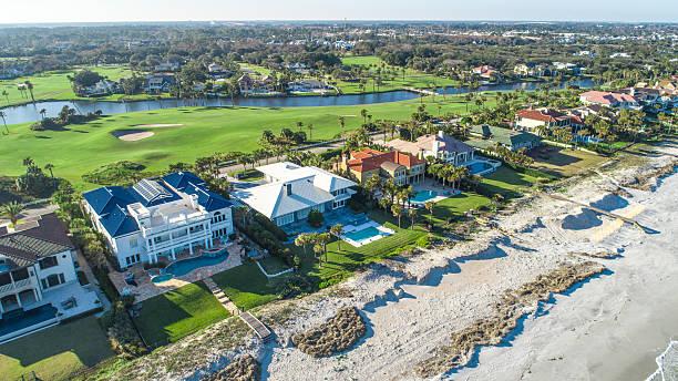 aerial view of ponte vedra beach, jacksonville - haus in florida stock-fotos und bilder