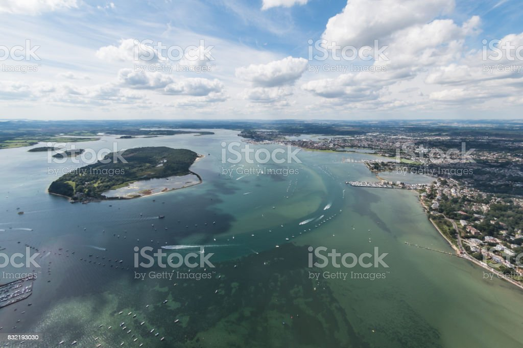 Aerial view of Poole Harbour and Brownsea Island stock photo