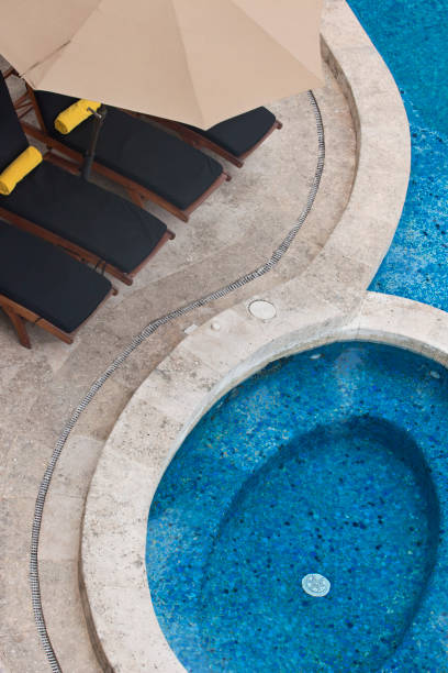 Aerial View of Pools and Deck Chairs