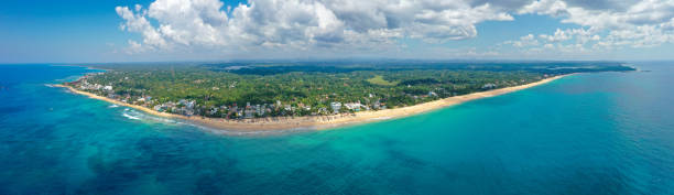 Aerial view of popular beaches of Hikkaduwa and Thiranagama, best places for surfing and swimming. Sri Lanka stock photo
