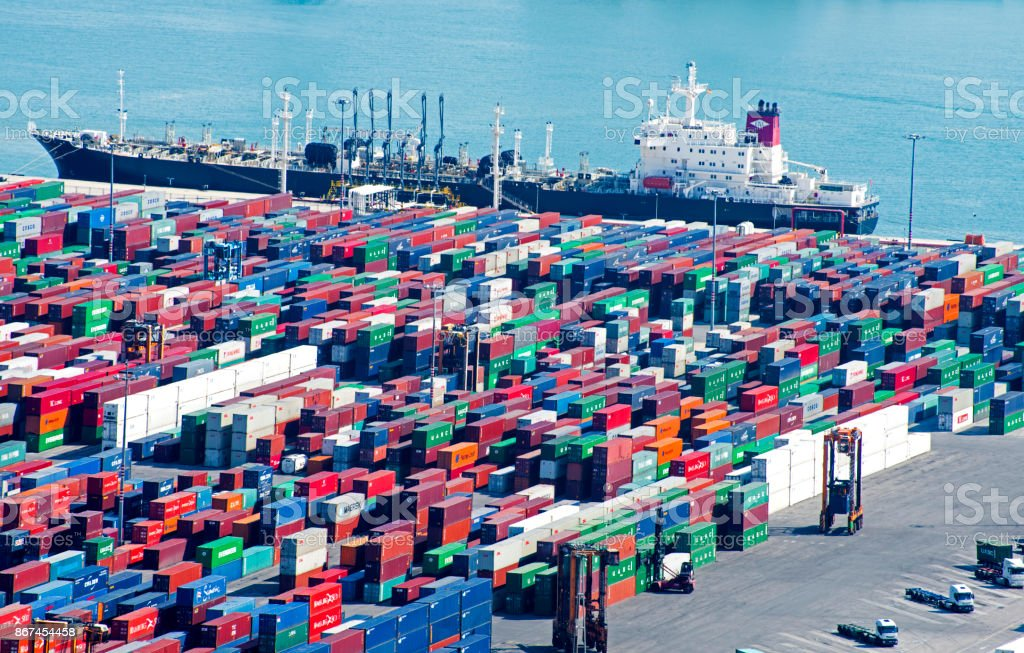 Aerial view of port, container and cargo ship in Barcelona, Spain stock photo