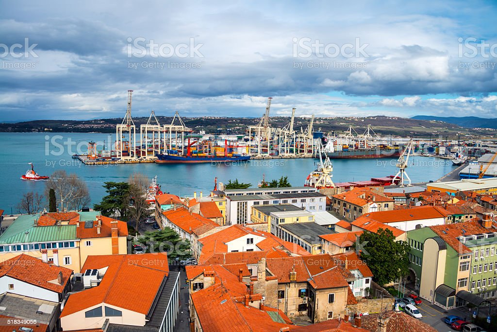 Aerial view of port in Koper, Slovenia stock photo
