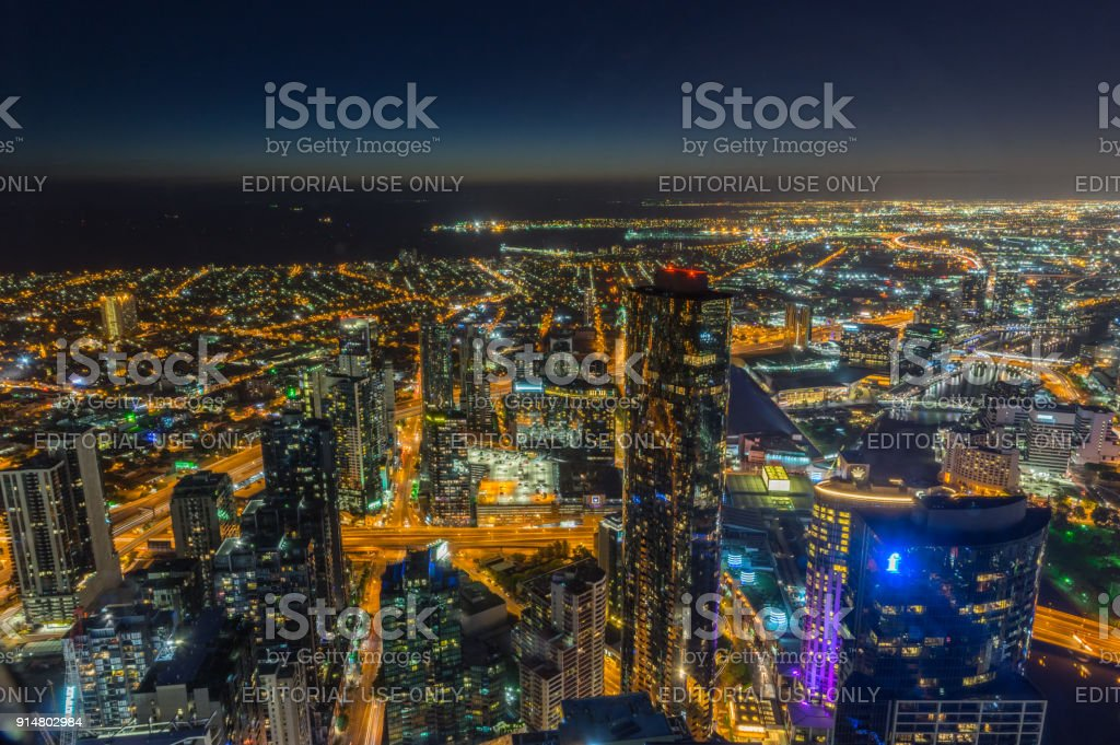 Aerial view of Port Melbourne and Docklands from Eureka Skydeck stock photo