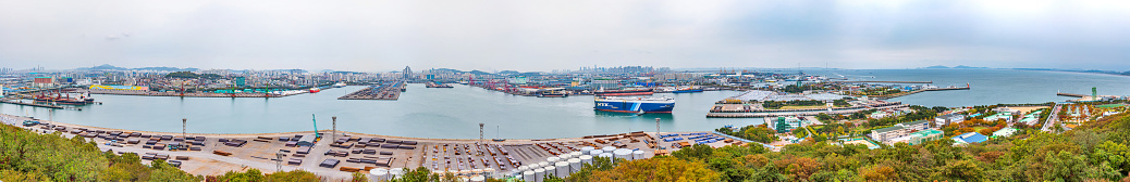 Aerial view of Port of Incheon from Wolmido island, Republic of Korea