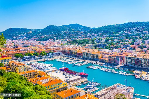 Aerial view of Port of Nice, France