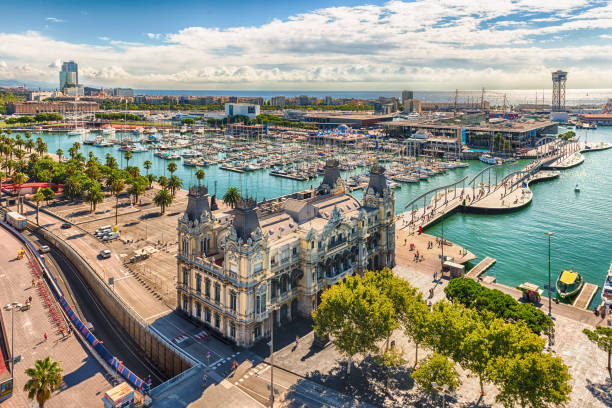 Aerial view of Port Vell, Barcelona, Catalonia, Spain - foto stock