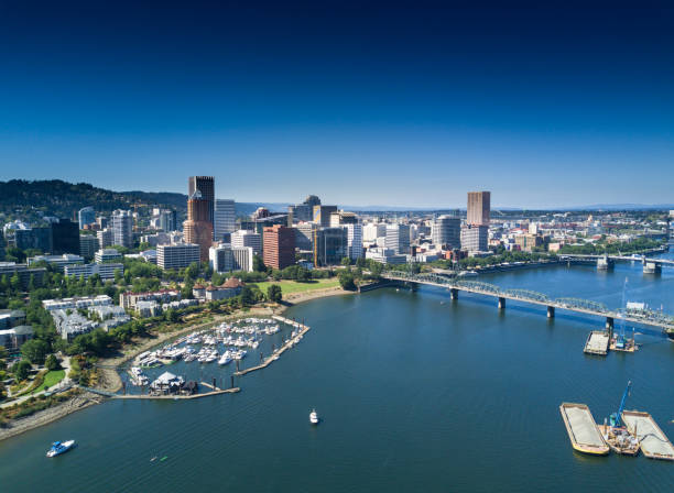 aerial view of portland waterfront - halbergman stock pictures, royalty-free photos & images