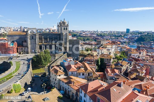 Aerial view of old center of Porto, Portugal.