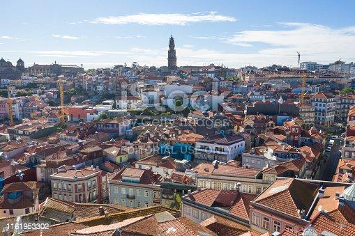 Porto, Portugal. June 10 2019: Aerial view od old center of Porto, Portugal.