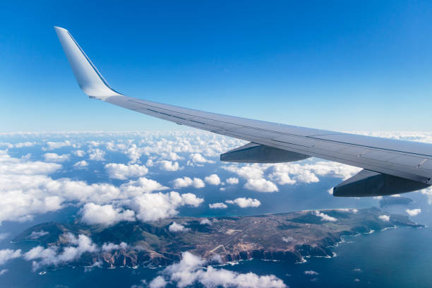 Aerial view of Porto Santo island from a airplane window, Madeira, Portugal Aerial view of Porto Santo island from a airplane window, Madeira, Portugal ilha da madeira stock pictures, royalty-free photos & images