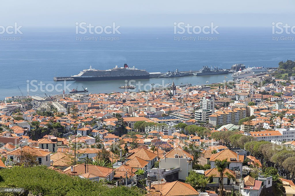 Aerial view of Portugese Funchal with  cruise ship in harbor stock photo