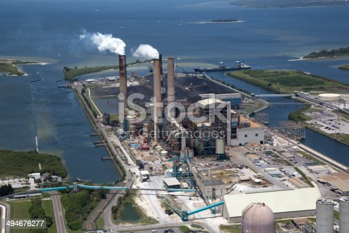istock Aerial view of Power Plant on the west coast of Florida 494676277