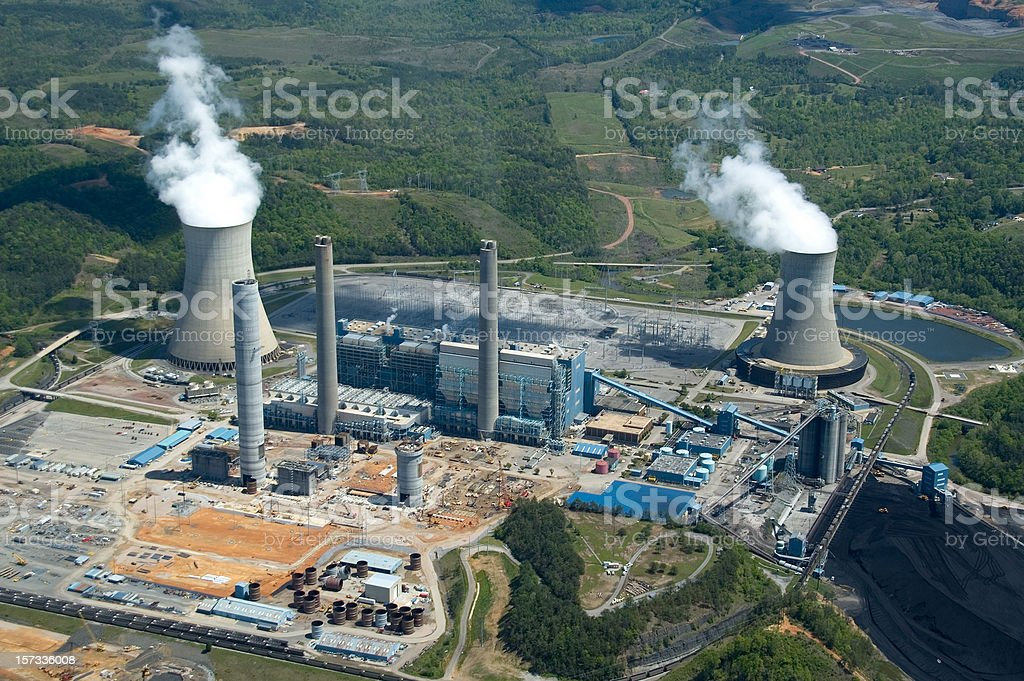 Aerial View of Power Plant stock photo