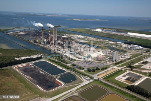istock Aerial View of Power Plant with Waterway 494768363