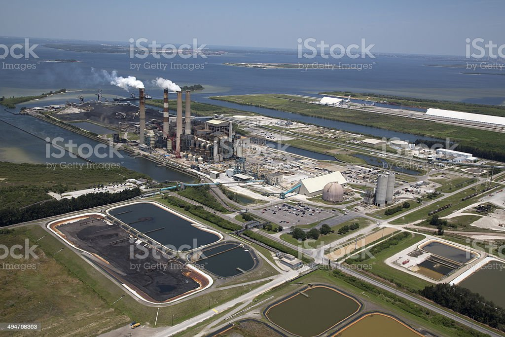 Aerial View of Power Plant with Waterway stock photo