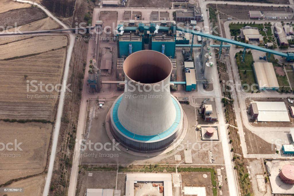 Aerial view of power station chimneys stock photo