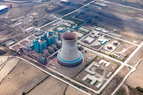 12 Industrial District Aerial View Factory Generator Stock