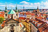 Scenic summer aerial panorama of the Old Town architecture in Prague, Czech Republic. See also: