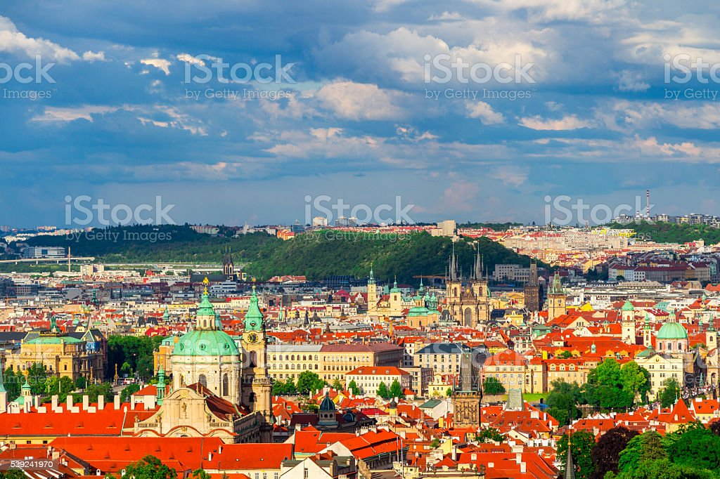 Aerial view of Prague from Prague Castle royalty-free stock photo