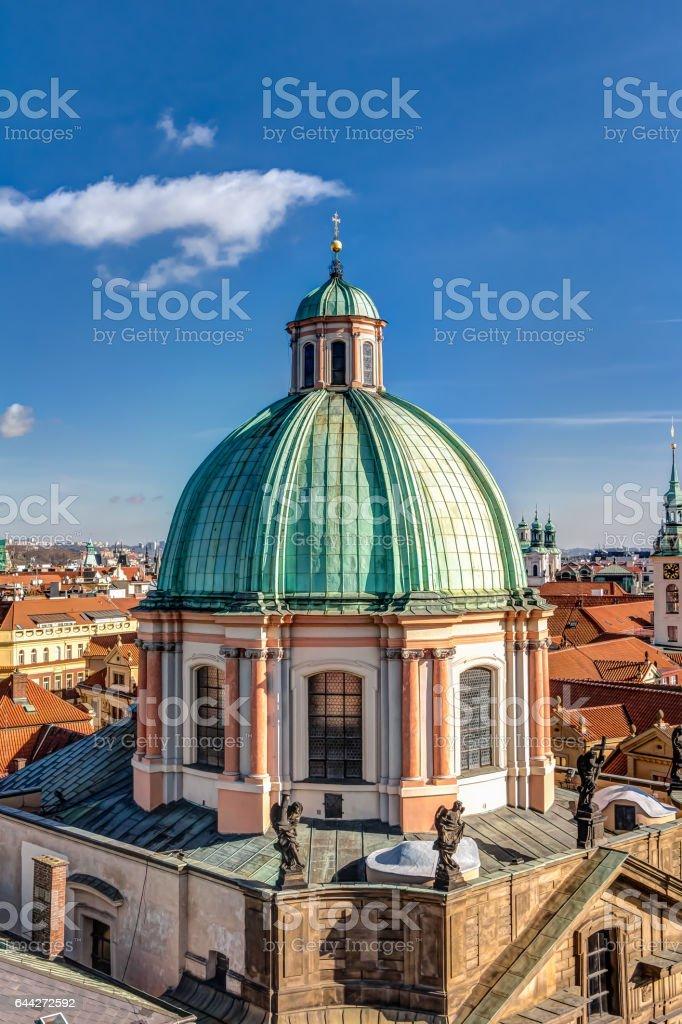 Aerial view of Prague stock photo