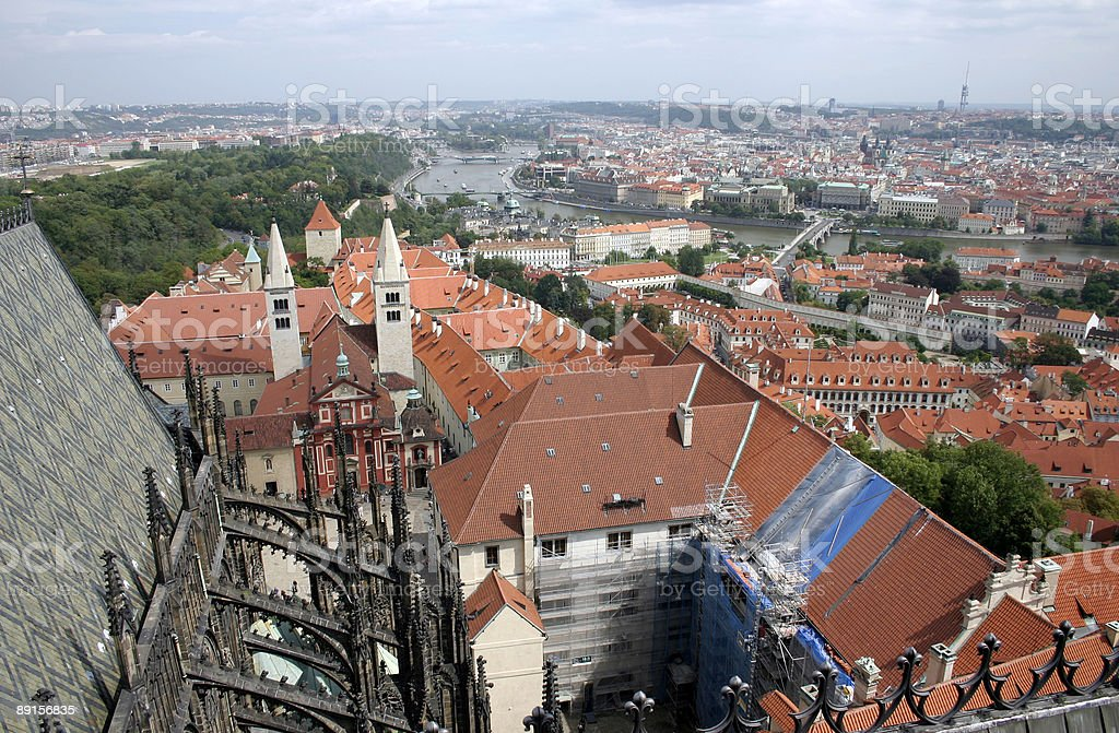 Aerial view of Prague royalty-free stock photo
