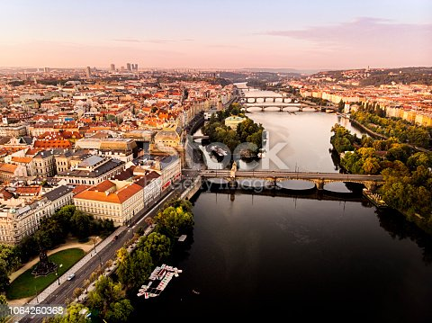 Aerial view of Prague with Vltava river at sunrise during summer