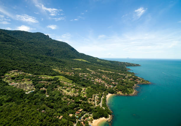 Aerial View of Praia do Curral (Curral Beach) in Ilhabela, Sao Paulo, Brazil stock photo