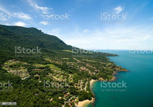Photo of Aerial View of Praia do Curral (Curral Beach) in Ilhabela, Sao Paulo, Brazil