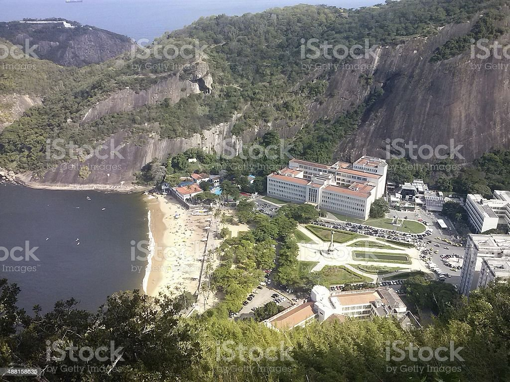 Aerial view of Praia Vermelha, Urca, Rio de Janeiro, Brazil royalty-free stock photo