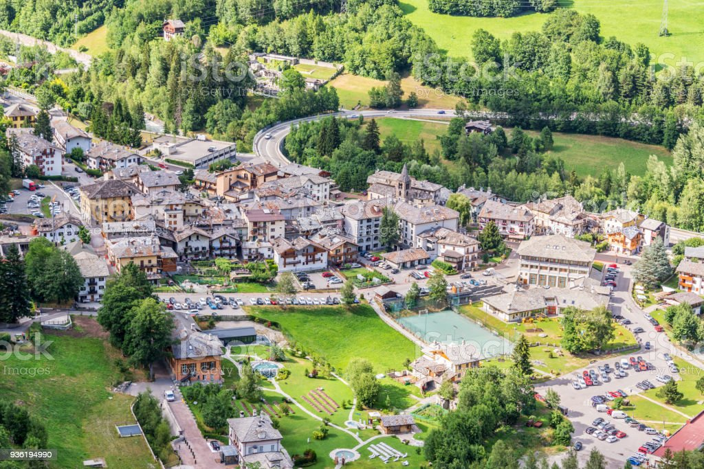 Aerial view of Pre Saint Didier, spa resort in Aosta Valley, Italy stock photo