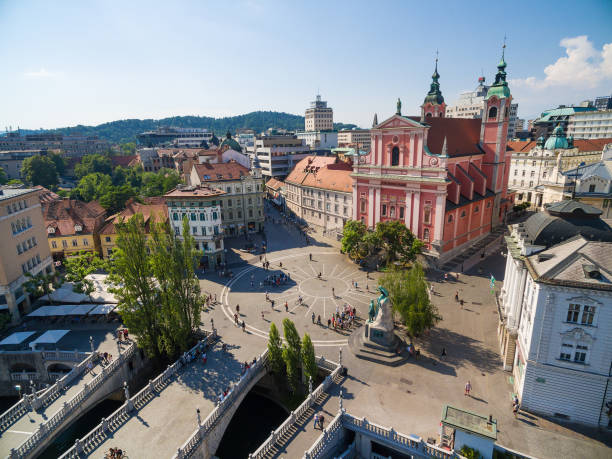 Aerial view of Preseren square in Ljubljana, Slovenia. Aerial view of Preseren square in Ljubljana, Slovenia. ljubljana stock pictures, royalty-free photos & images