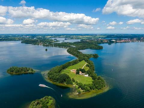 Aerial view of Princes Island or Prinzeninsel near city of Ploen