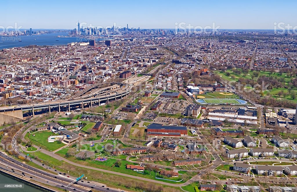 Aerial view of Prospect Park in Brooklyn and Lower Manhattan stock photo