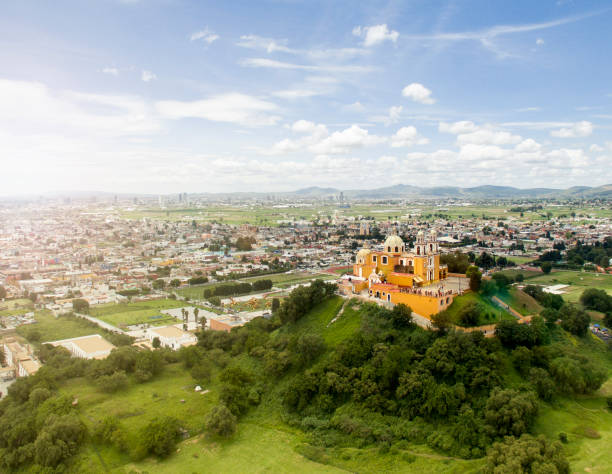 Aerial view of Puebla Cholula church on top of a pyramid in Puebla, Mexico. puebla state stock pictures, royalty-free photos & images
