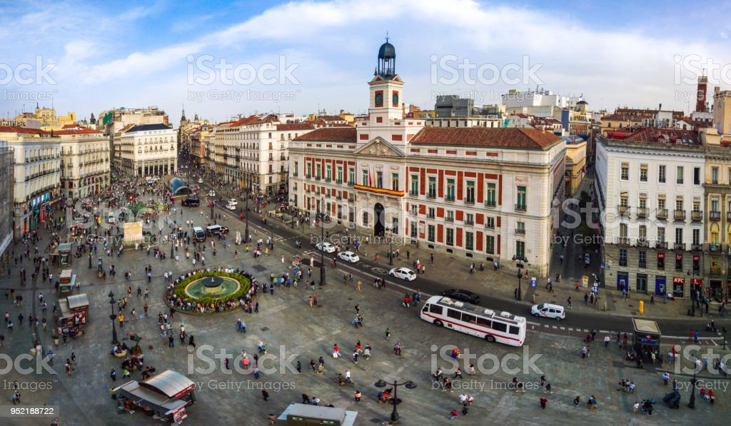 Aerial View Of Puerta Del Sol Madrid Spain Stock Photo
