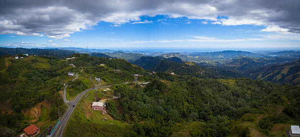 Aerial view of Puerto Rico mountains stock photo