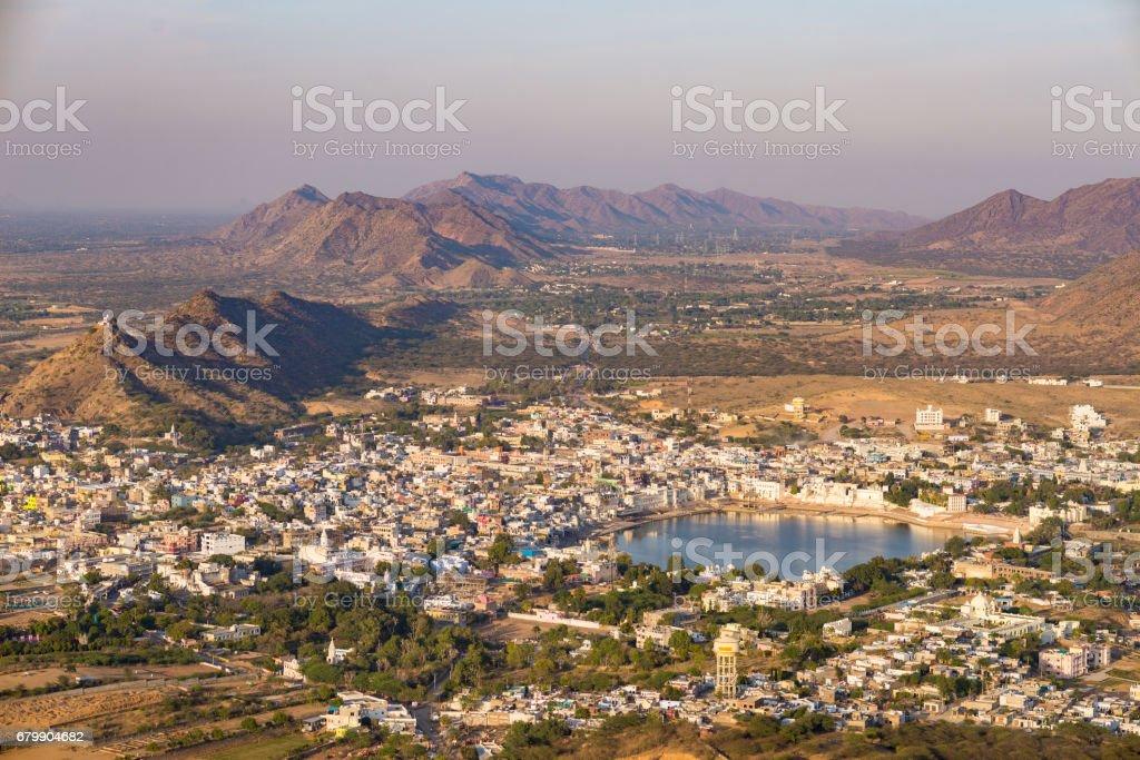 Aerial view of Pushkar stock photo