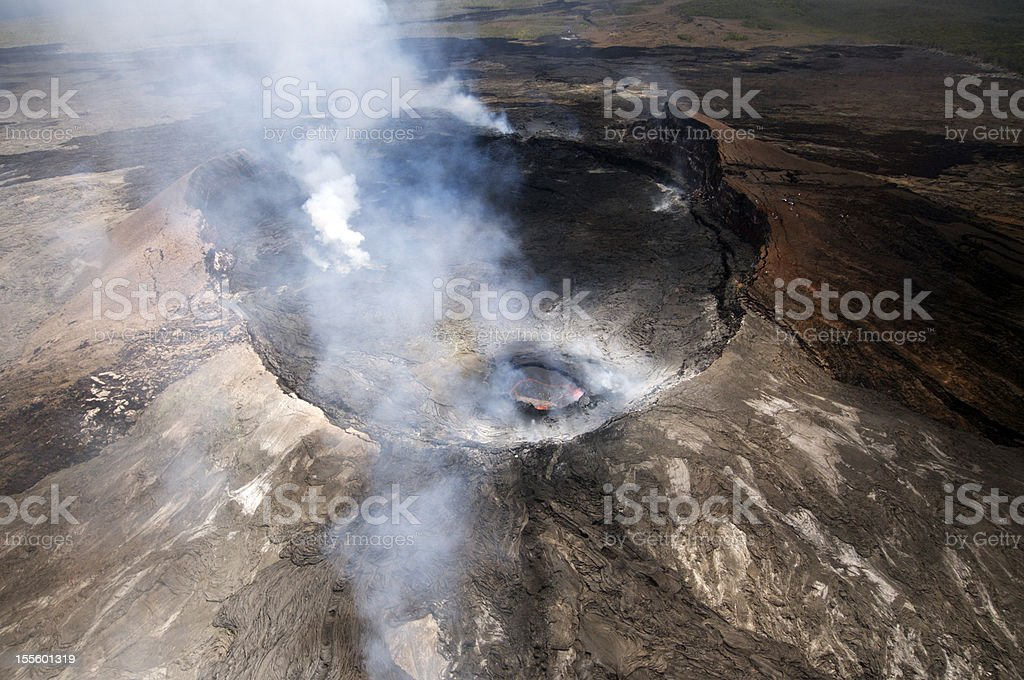 Aerial View of Pu'u O'o Crater, June 2012 stock photo