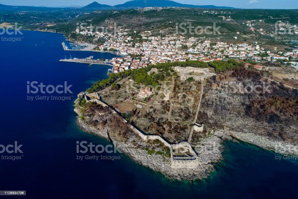 aerial view of Pylos historically also known under its Italian name Navarino, is a town and a former municipality in Messenia, Peloponnese, Greece stock photo