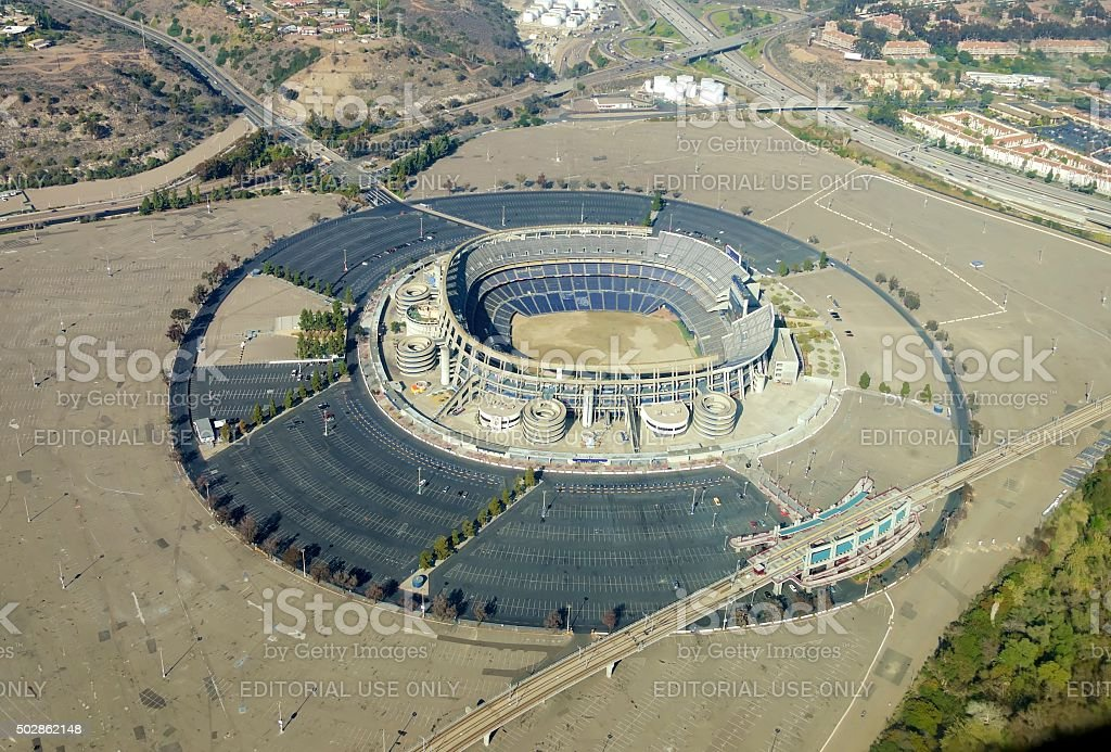 Aerial view of Qualcomm Stadium, San Diego stock photo