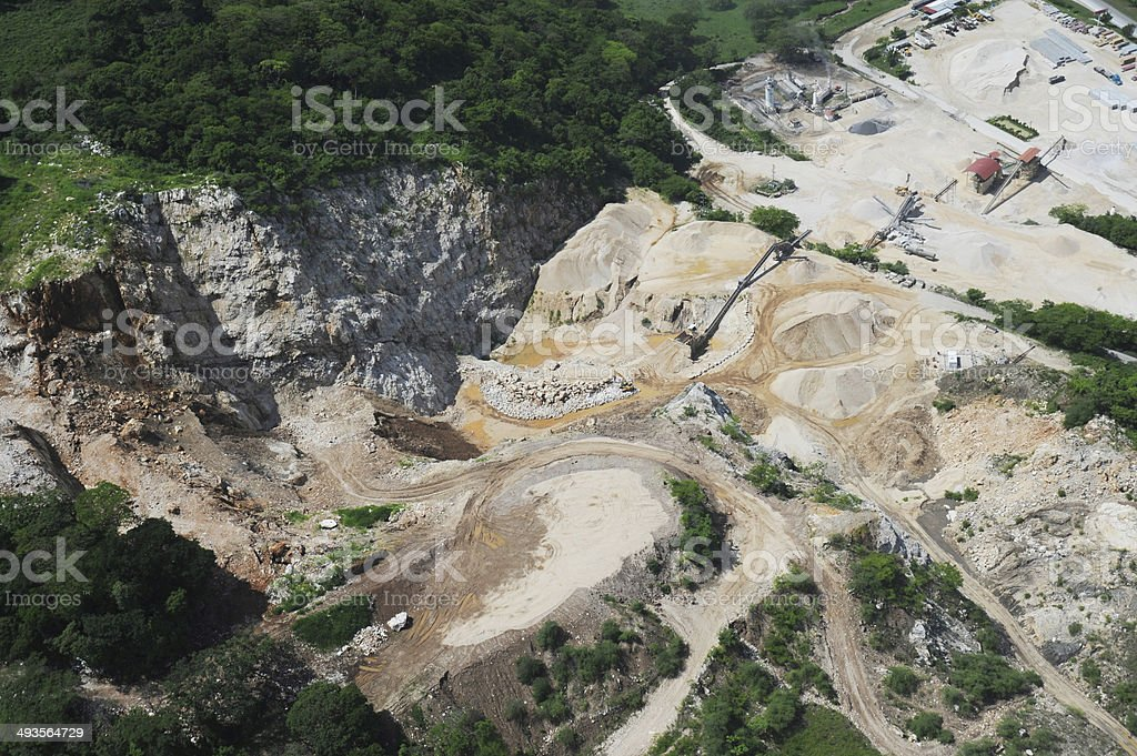 Aerial view of quarry development stock photo
